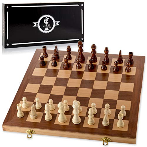 den Chess Set with Felted Game Board Interior for Storage ()