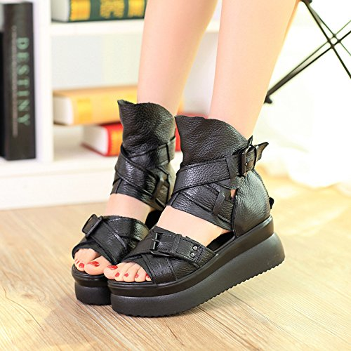 KHSKX-Thick Leather Bottom Muffin Wedge Sandals Women In Rome With Hollow Shoes Black Thirty-five WedP4uI