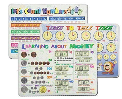 Learning Placemats: Telling Time, Counting Numbers, Learning Money Placemat for Kids | 3 Dry Erase Mats Set