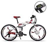 JIMAI RT-860 Mans Folding Electric Bike, Mountain Hybrid MTB Bike Bicycle Cycling Dual Suspension, 250 Watt 36V 21 Speeds, With foot Bike Air Pump, A Tool set, one piece mounting tool speedometer