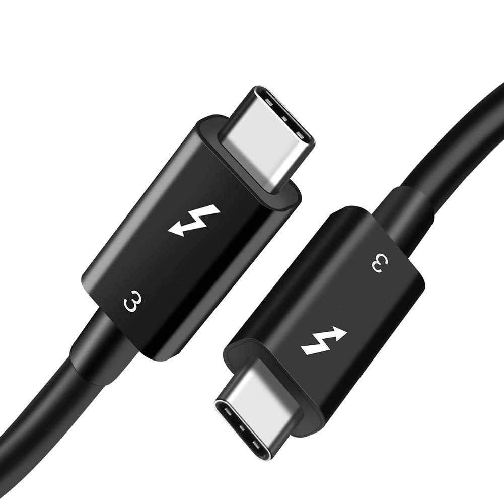 [Thunderbolt 3 Certified] CableCreation Thunderbolt 3 Cable 40Gbps (1.6 Feet/ 0.5 Meters), Supports 5A/100W Charging, USB C to USB C Compatible with New MackBook Pro, MacBook Air, iMac Pro, TPE Black by CableCreation