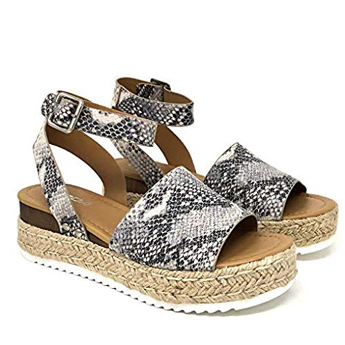 (Womens Espadrilles Rubber Open Toe Sandals Sole Platform Studded Wedge Buckle Ankle Strap Flats Shoes (US:5.5, White))