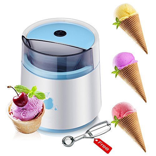 LOHOME Ice Cream Maker Machine - Automatic Frozen Yogurt and Sorbet Ice Cream Maker Machine Fruit Popsicles for Children with Free Ice Cream Scoop (Ice Cream Maker)