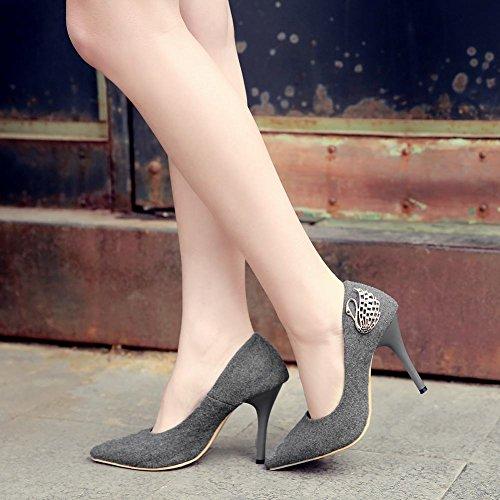 Grigio Slittata Scarpe Scuro Tacco Da Punta Donna Shoes A Mee Alto WzxA5w8FqZ