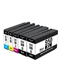 Oyat Ink Compatible 5 Ink Cartridges for HP 950XL & 951XL (2 Black, 1 Cyan, 1 Magenta, 1 Yellow) 950 & 951 for Use In Printers Officejet Pro 8100 , eprinter-N811a and N811d , Officejet Pro 8600 e-All-in-One Printer-911a , Officejet Pro 8600 Premium , e-All-in-One-N911a .