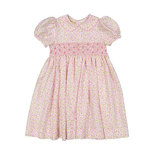 Hand Smocked Girls Dress - Carriage Boutique Girls Spring Classic Dress - Hand Smocked Pink Floral (31243-24M)
