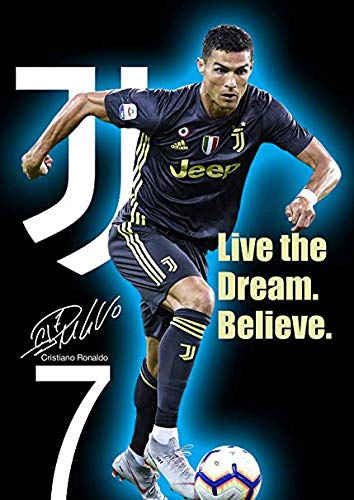 Cristiano Ronaldo Poster - United Mart Poster Cristiano Ronaldo Live The Dream. Believe Motivation Poster Size 12 x 18 Inch Rolled Poster
