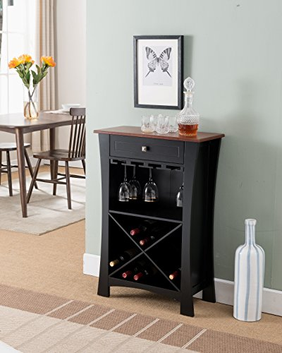 Kings Brand Hiland Bar Cabinet Wine Storage with Glass Holders & Drawer, Black Review
