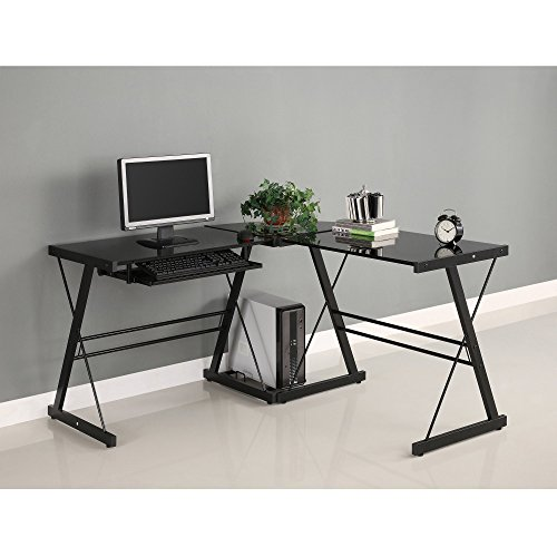(Walker Edison AZ51B29 Soreno 3-Piece Corner Desk, Black Glass, 29