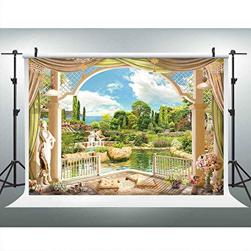 LUCKSTY Spring Greenery Garden Waterfall Lake Blue Sky Backdrops for Photography 9x6FT Retro Balcony Scenery Photo Backgrounds for Portraits Studio Props LUGE003