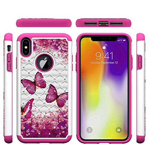iPhone XS Max Case,Rugged Slim 2 in 1 Hybrid Case Back Cover Hard PC with Creative Pattern & Point Drill Inner Soft TPU Bumper Case Compatible with Apple iPhone XS Max [6.5 inch] -Butterfly A