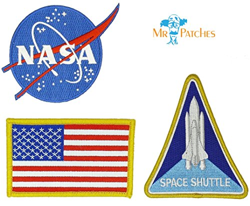 Flag Packing Usa (Nasa Blue Logo USA Flag Space Shuttle Jacket DIY Embroidered Halloween Costume Badge Set of 3 Easy Iron/Sew On Patch)