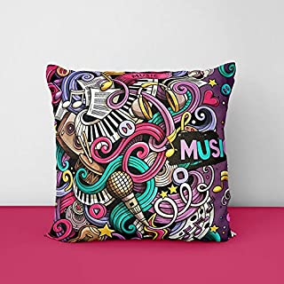 51Uy%2B2PZsbL. SS320 Doodles Colorful Musical Instruments Square Design Printed Cushion Cover
