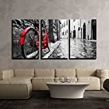"wall26 - 3 Piece Canvas Wall Art - Retro Vintage Red Bike on Cobblestone Street in the Old Town - Modern Home Decor Stretched and Framed Ready to Hang - 16""x24""x3 Panels"