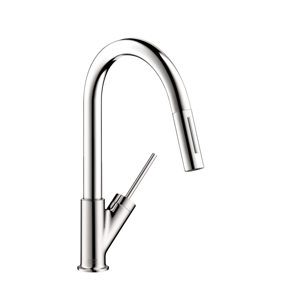 AXOR Starck Luxury 1-Handle 14-inch Tall Kitchen Faucet with Pull Down Sprayer Magnetic Docking Spray Head in Chrome, 10824001