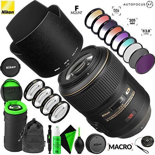 Nikon AF-S VR Micro-NIKKOR 105mm f/2.8G IF-ED Lens with Creative Filter Kit and Pro Cleaning Accessories