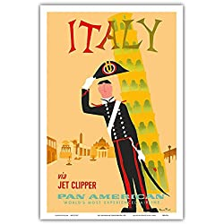 Italy via Jet Clipper - Pan American World Airways - Italian Carabinieri Policeman and the Leaning Tower of Pisa - Vintage Airline Travel Poster by Aaron Fine c.1959 - Master Art Print - 12in x 18in