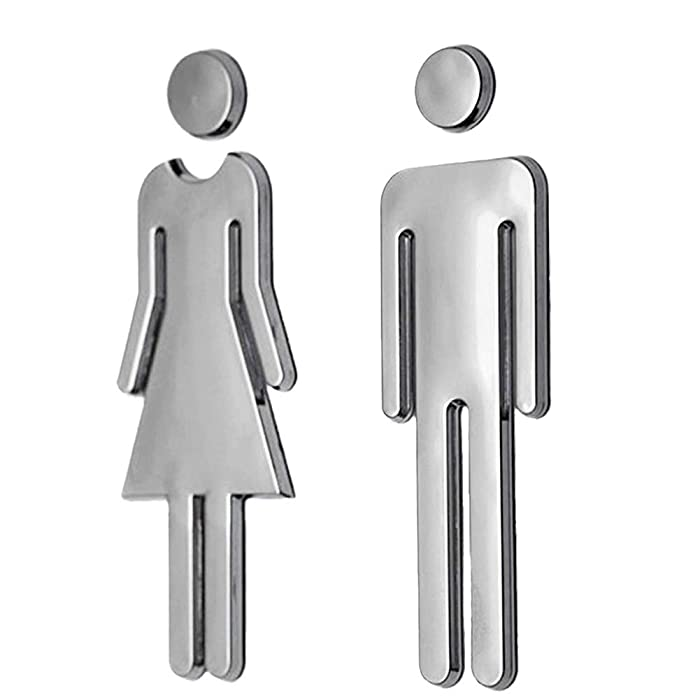 "RJWKAZ Acrylic Adhesive Backed Men's and Women's Bathroom Sign 7.8"" (Silver)"