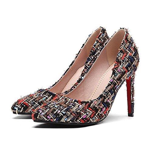 Partie UK6 Microfibre Pompe Été Black de Talons EU39 Similicuir Pour DIMAOL à US8 de Talon Printemps PU CN39 Chaussures Soir Chaussures amp; Synthétique Femmes Confort Base w1USq7