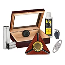 ALLSTAR HUMIDOR W/ ACCESSORIES KIT ASHTRAY, LIGHTER. STAINLESS POCKET HUMIDOR CUTTER & MORE