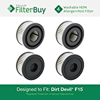 4 - FilterBuy Dirt Devil F15 (F-15) Washable HEPA Replacement Filters, Part # 1-SS0150-000, 3-SS0150-001. Designed by FilterBuy to fit Dirt Devil Extreme Quick Models 084505, 084506, 084507