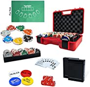 Professional Poker Chips Set 300 pc with 2 Decks of 100% Plastic Playing Cards, Trays, All in, Dealer, Big Bli