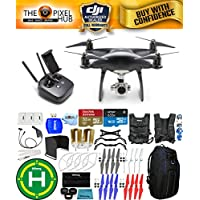 DJI Phantom 4 Pro Black Obsidian Edition Drone PRO BUNDLE With Blue Pro II Backpack, Vest Strap, Extra Props, Filter Kit Plus Much More (1 Battery)