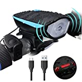 Super Bright Bike Light Set USB Rechargeable Headlight with a Horn Waterproof Front