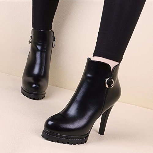Female Boots Thin Taiwan Black Boots 36 Boots Short Thick Versatile Tide Autumn Boots Cotton The And Winter Heeled High 10Cm And New Martin Bottom KHSKX Raw And Waterproof qYwRXq