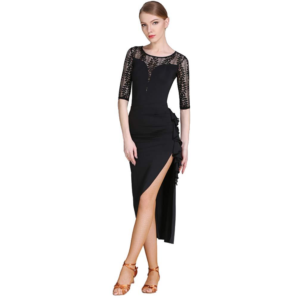 noir L DHTW&R Femmes élégant Latin Danse Jupe Les Robes Flexible étape ExaHommes De Danse Les Costumes Fête Concurrence Robe