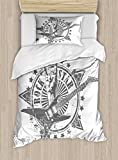 Ambesonne Guitar Duvet Cover Set Twin Size, Stars with Rock Sign Monochrome Musical Instrument Design Rockstar Life Singing, Decorative 2 Piece Bedding Set with 1 Pillow Sham, Pale Grey White