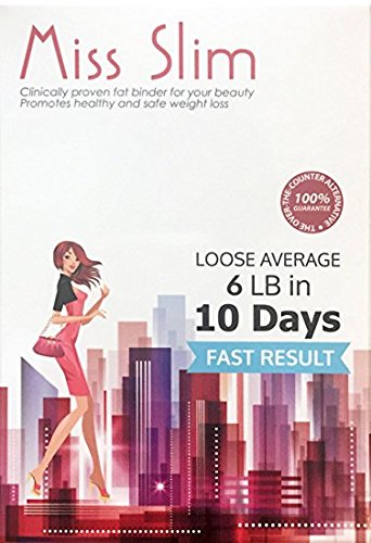Miss Slim Weight Loss for Women - Clinically Proven Fast Fat Binder Weight Loss Pills Manufactured in an FDA Registered Laboratory - Extreme Potency Diet Pill (Miss Slim 10 Pills/pk)