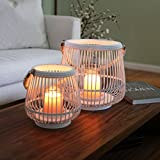 Urban Trends 41074 Bamboo Round Lantern with Rope Hangers Painted Finish (Set of 2) White 2 Piece