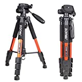 Zomei Q111 Orange Professional Aluminium Camera Tripod Camcorder Stand with Pan Head Plate for DSLR Canon Nikon Sony DV Video