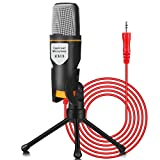 iUKUS PC Microphone with Mic Stand, Professional 3.5mm Jack Recording Condenser Microphone...