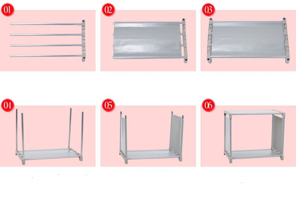 Fashine DIY Adjustable Bookcase, Bookshelf with 9 Book Shelves, Home Furniture Storage (Pink)