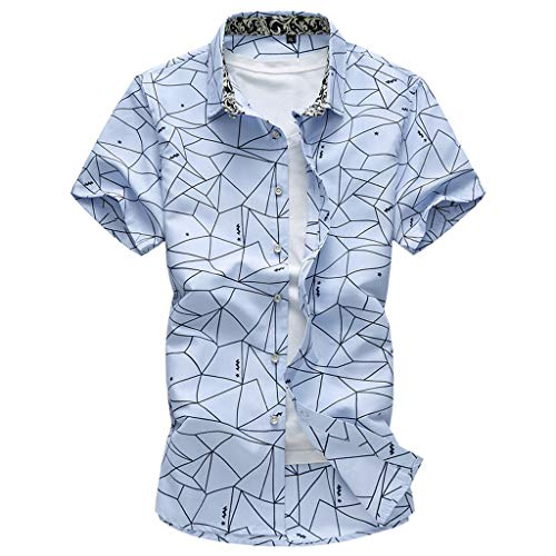 Shirts Hawaiian Shirt Regular Fit Quick to Dry Summer Fashion Shirts Casual Short Sleeve Beach Tops Loose Casual Blouse Mens (6XL,Blue) -