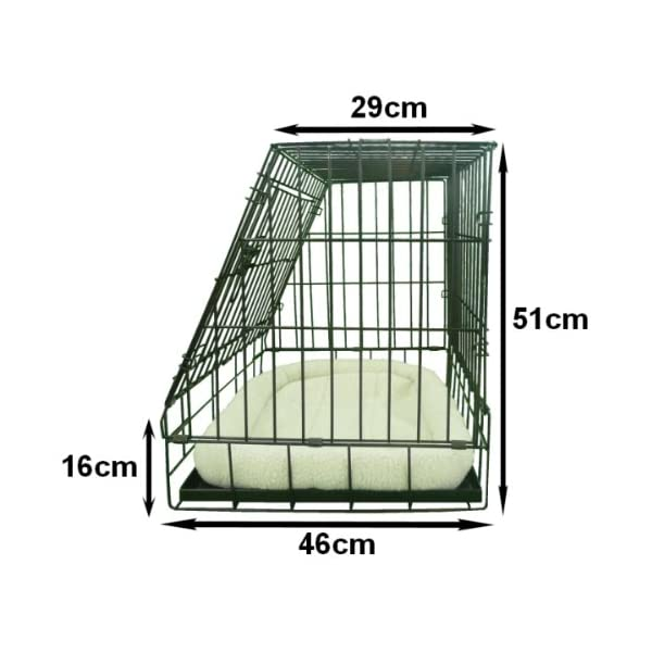 Ellie-Bo Deluxe Sloping Puppy Cage Folding Dog Crate with Non-Chew Metal Tray Fleece and Slanted Front for Car 4