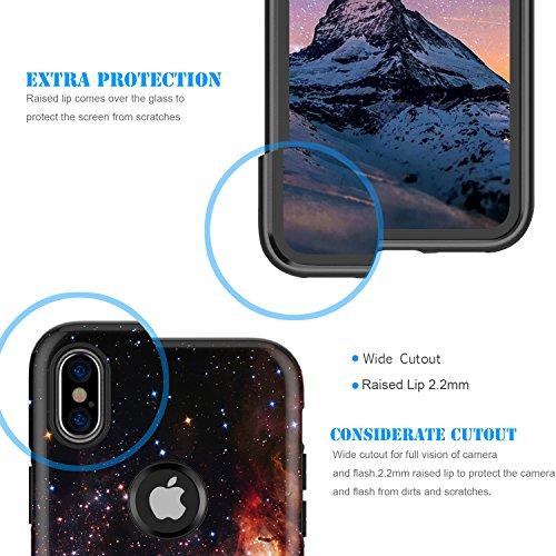 iPhone X Case,iPhone 10 Case,BENTOBEN Nebula Galaxy Universe Design Slim Shockproof 2 in 1 Hybrid Hard PC Flexible TPU Protective Phone Cover for Apple iPhone X/iPhone 10 5.8'', Blue/Purple Photo #7