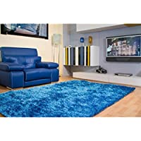 Amazing Rugs Fuzzy Soft Plush Shag Collection Blue/Pearl White Area Rug (8 x 11)