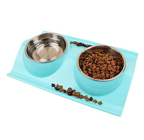 Xuxuou Comida para mascotas Bowl Cat Dog Feeding Bowl Acero ...
