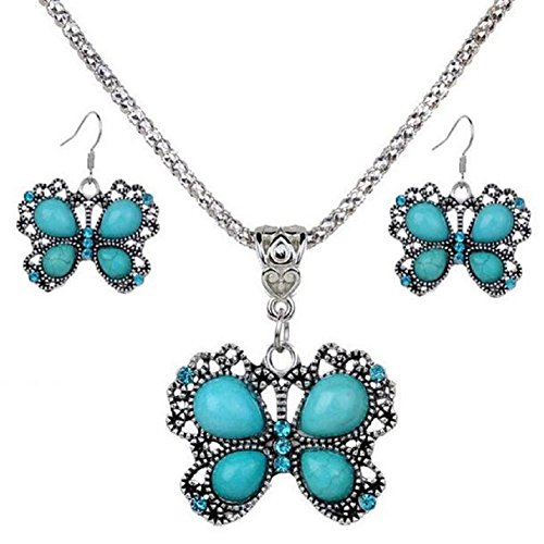 Fashion Womens Flower Turquoise Pendant Chain Bib Necklace Earrings Jewelry Set women's day Gift (Flower Dangling Necklace Earrings)