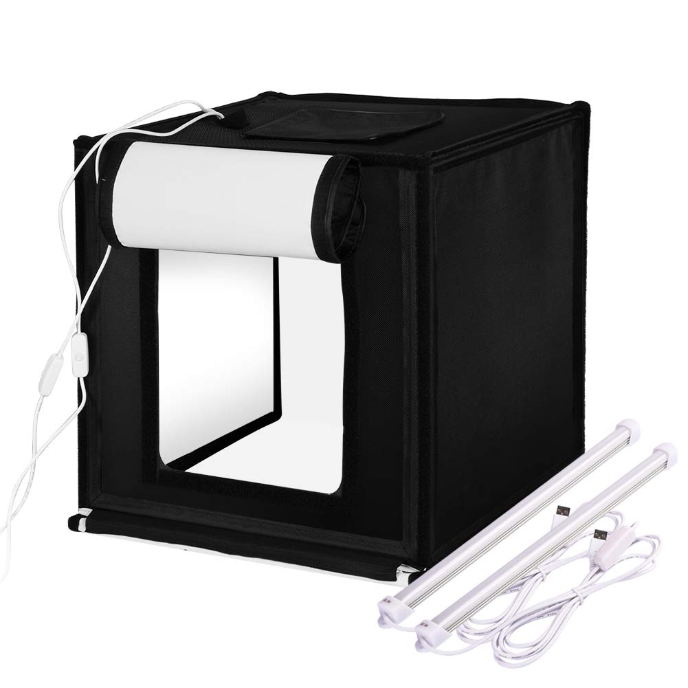 GOKKO Portable Photo Studio Shooting Tent 16x16x16 inch Photography Light Box Soft Box Kit Built-in 2pcs 6000K White LED Strips for Photography