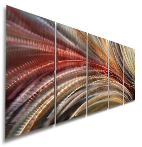 Earth-Toned Abstract Metallic Wall Painting - Modern