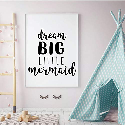 Mermaid Wall Decal | Dream Big Little Mermaid Quote Lettering | Home Decor For Girl's Bedroom, Children's Playroom or Bathroom | Black, White, Pink, Purple, Other Colors | Small, Large Sizes Ariel Dreams Wall Art