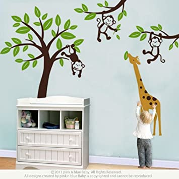 jungle monkey tree and giraffe wall decor sticker for baby boys