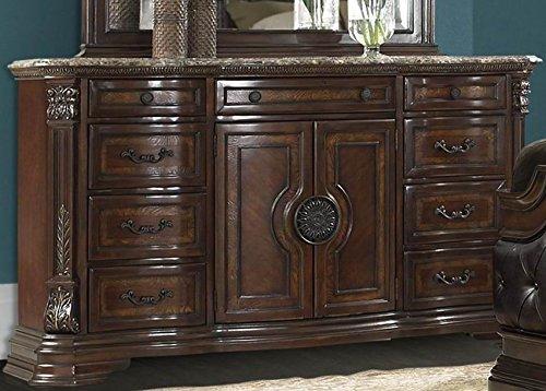 Homelegance Antoinetta 9 Drawer 2 Door Dresser & Mirror w/Marble Top in Warm Cherry - (Dresser Only) by Homelegance