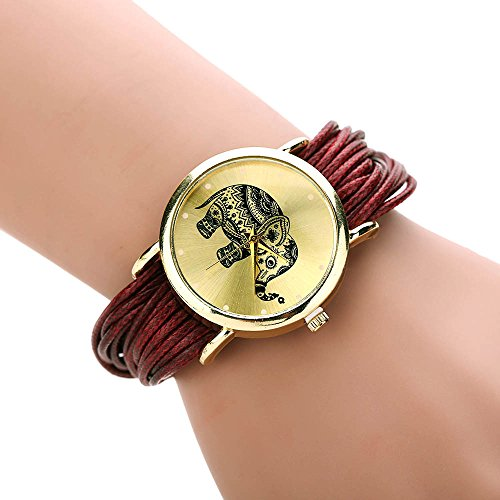 Womens Elephant Watches,COOKI Unique Analog Fashion Lady Watches Female watches on Sale Casual Wrist Watches for Women,Round Dial Case Comfortable Faux Leather Watch-H35 (Red)