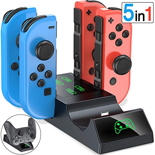 ESYWEN Controller Charger for Nintendo Switch, 5 in 1 Charger Dock for Joy-Con and Switch Pro Controller with LED Indicators