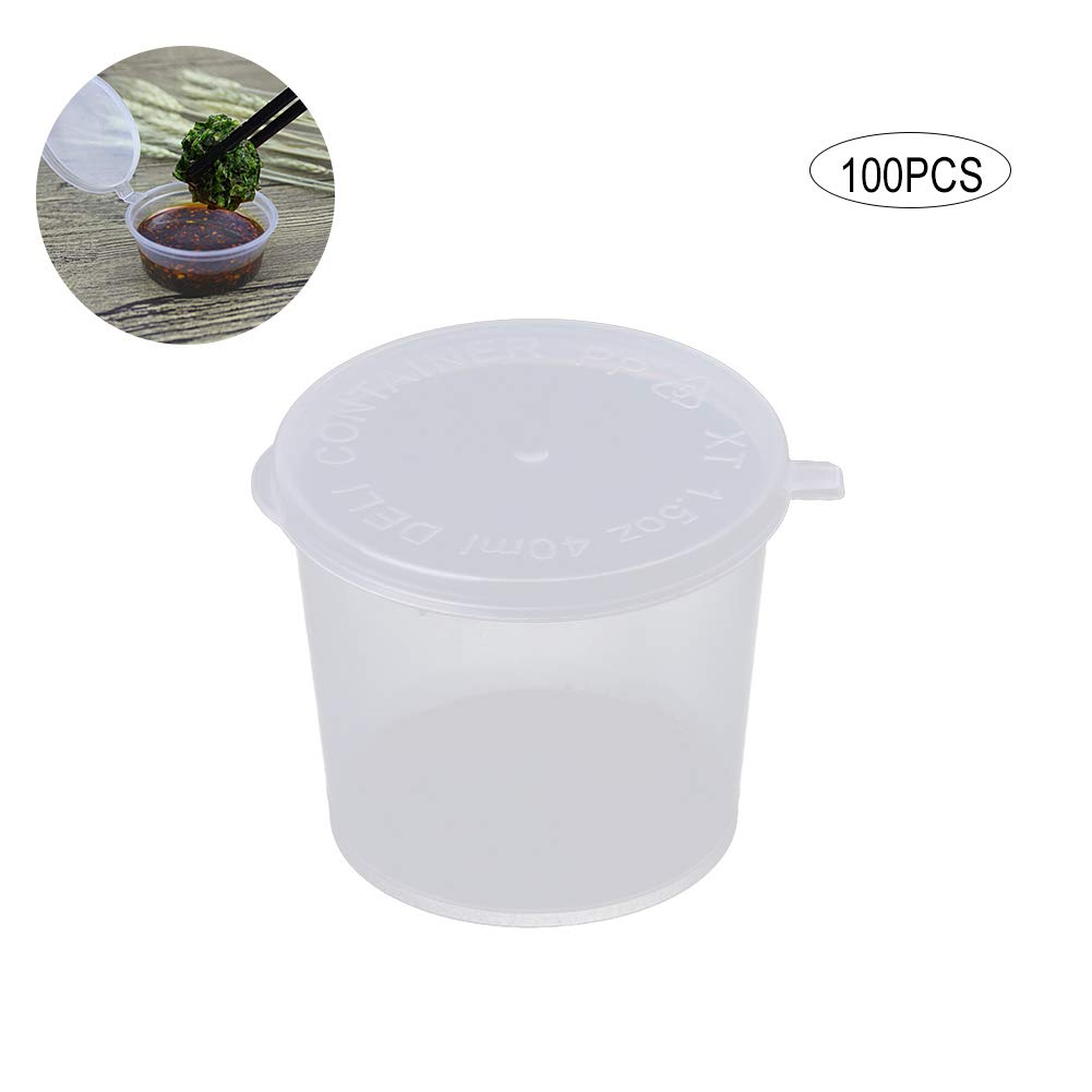 Ouken 100pcs Mini Translucent Jello Shot Cups Small Containers with Lids Plastic Cups for Restaurants(1oz)
